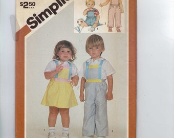 Girls Sewing Pattern Simplicity 6311 Girls Overalls in Two Lengths and Sundress or Jumper Size 3 Breast 22 1980s 1983 80s UNCUT