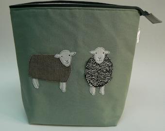 Herdwick Sheep applique large zipped project bag, knitting bag