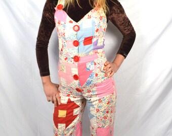 Amazing Vintage Hippie Quilt Patchwork Handmade OOAK Overalls