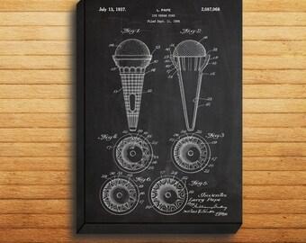 CANVAS - Ice Cream Cone Art, Ice Cream Cone Print, Ice Cream Cone Poster, Ice Cream Cone Patent, Ice Cream Cone Decor, Ice Cream Art