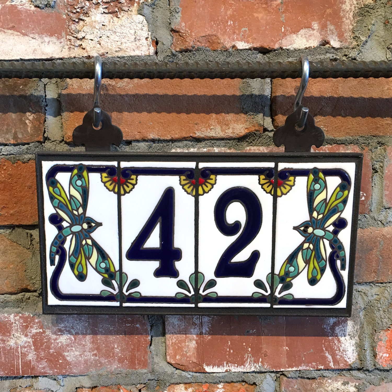 Custom Royal Blue on White Ceramic Tile House Numbers with