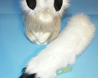 Kistune Fox Wolf White and Black Ears and Tail set