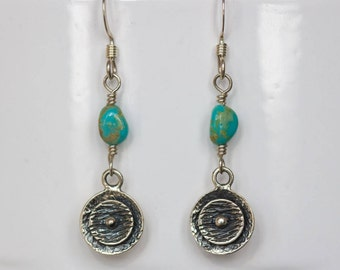 turquoise silver dangle earrings handmade silver earrings turquoise jewelry December birthstone gifts for women handmade gifts