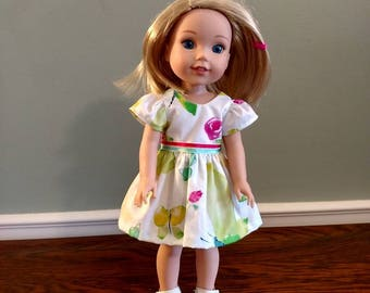 Cute little butterfly and roses dress for Wellie Wisher Size Doll.  W600