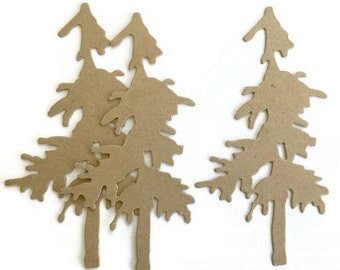 Thin Pine Tree  -  Chipboard Die Cuts & Bare Foliage Alterable Embellishments