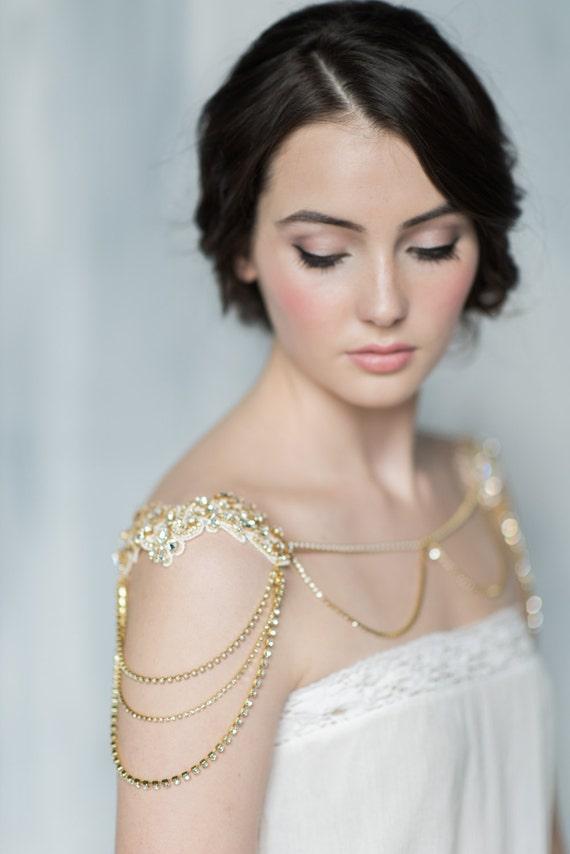 Gold Bridal Shoulder Necklace Crystal Bolero Lace Shoulder