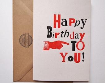 Happy Birthday typographical letterpress greetings birthday card print