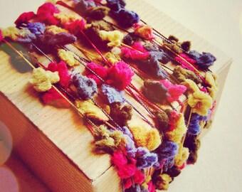 Jeweled Rainbow Painterly Pom Pom Garland- novelty party decoration, wedding craft supply, specialty trim -5 yds