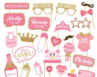 Printable Baby Girl Shower Photobooth Props - Baby Girl Photo Booth Props - Its a girl Party Props -Pink baby girl -  Instant Download