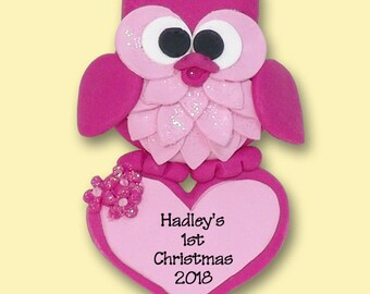 Pink Owl with Heart /  Baby / Girl HANDMADE POLYMER CLAY Personalized Christmas Ornament Limited Edition