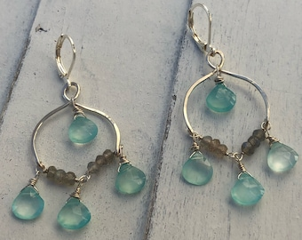 Aqua chalcedony and labradorite chandelier earrings.