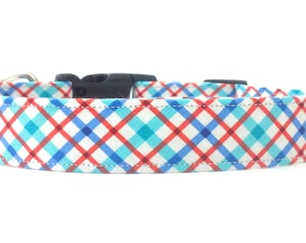 The Bay Blue and Red Plaid Dog Collar