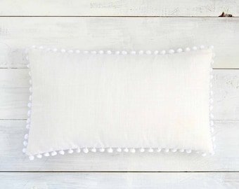 "White Pom Pom Lumbar Pillow Cover - Linen Look -  12"" x 20"" - Decorative Pillow, Throw Pillow, Pom Pom Pillow Cover, White Pillow"