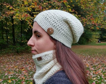 Alpaca, slouchy beanie and cowl/ The Sara slouchy hat and neck warmer alpaca
