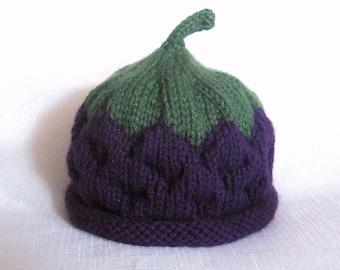Knit blackberry hat, knit baby hat, photo prop
