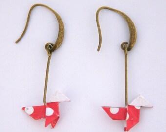 Origami bird earring