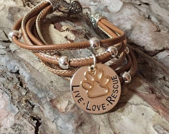Live Love Rescue multi strand leather bracelet