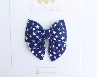 July 4th Bow, Blue Star Bow, Baby Girl Headband, 4th of July Bow, Bows for Girls, baby Hair Clips, Baby Bow Headband, Baby Girl Gifts