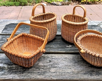 Nantcket Style Baskets Vintage Basketville Style 3 Different Shapes Floral Snack Trinket Business Card Containers