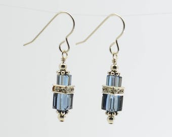Denim Blue Swarovski Crystal Squaredelle Earrings // Special occasion earrings // Bridesmaid earrings // Gifts for under 20