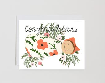 Congratulations  Baby- New Baby - Florals - Swaddled - Bundle of Joy - Blank inside - Toronto