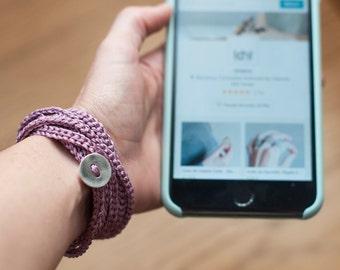 Simple Bangle Bracelet for Women. Fine Wool hand-woven Jewelry. Crochet Wrap Bracelet. Eco-Friendly Jewelry. Bohemian,Chic,Romantic bracelet