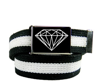 Diamond Belt Buckle with Any Color Canvas Web belt