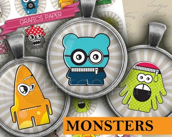 "Monsters images - digital collage sheet - td378 - 1.5"", 1.25"", 30mm, 1 inch circles magnet, Images pendant download printable bottle caps"