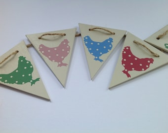 Chicken bunting, hen bunting, wooden bunting, flag bunting, hand painted bunting, easter decoration, easter gift, kitchen decor, wooden gift