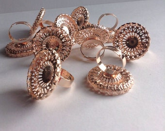 10 Brass Plated Filigree Ring bases / blanks, 30mm round,27mm pad, rose gold color, adjustable, jewelry findings, lead / nickel free, Greece