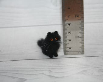 Miniature Dollhouse Cat. Miniature Needle Felted Cat. Black Cat. Kitty. Realistic Cat. Pet. Felted Animal. Dollhouse Cat. Made to Order.