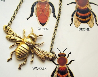 Bee Necklace Insect Jewelry Bumblebee Gardening Accessory Gift for Gardener