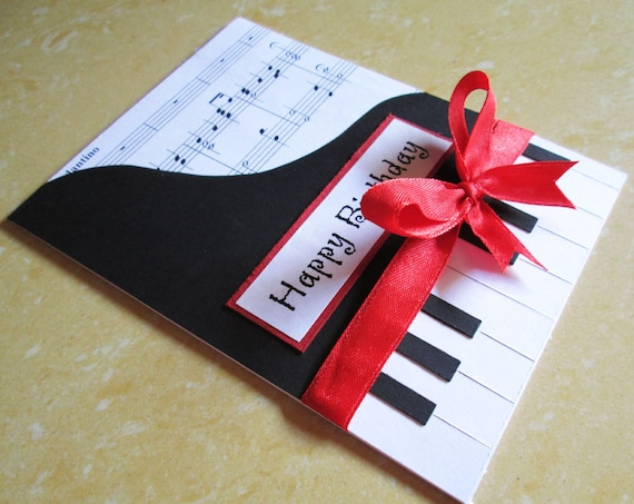Piano happy birthday card music themed birthday greeting piano happy birthday card music themed birthday greeting card card for wife mom girlfriend dad husband boyfriend black and white bookmarktalkfo Images