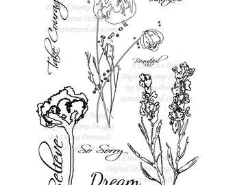 Digital Stamp Images. Ethereal Florals. Digital Stamp Set. Printable Stamps for Scrapbooking, Cards, Crafts, Digital or Hybrid Designs.