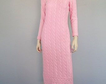 Vintage 60s 70s Mod Boho Knit Sweater Maxi Dress