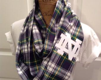 Notre Dame double loop infinity scarf. Irish. Flannel.