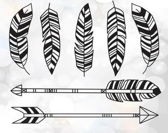 Boho feathers SVG - Arrows SVG Cut Files - Tribal Feathers - Feather and arrow svg, dxf, eps files for Silhouette studio - Instant Download