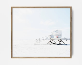 lifeguard photo, beach decor, beach print, surfing print, California beach art, red wall decor, coastal art, surf print, lifeguard station