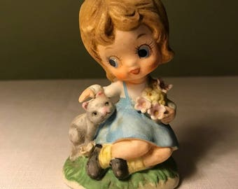 Vintage Big Eyed Girl Figurine with a Kitty