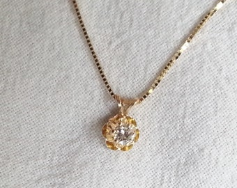 1/5ct Round Diamond Pendant in 14k Yellow Gold