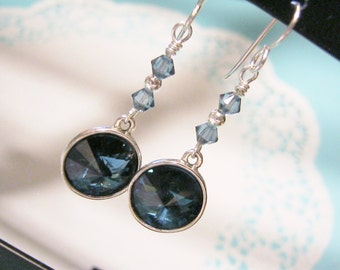 Royal Blue Earrings, Navy Blue Crystal Earrings, Swarovski Rivoli Earrings, Sapphire Blue Earrings, September Birthstone Earrings