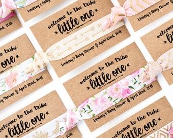 Pink Boho Baby Shower Hair Tie Favors | Vintage Floral Hair Tie Favors, Baby Shower Hair Tie Favors, Pink Floral Girl Baby Shower Favors