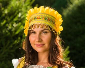 """Russian traditional headwear """"Kichka"""", Russian traditional hat, Woman headdress, Russian headwear, Beading silk headwear"""