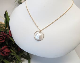 Freshwater Pearl Necklace, White Pearl Necklace In Gold Filled, Circle Pendant With Pearl, Freshwater Pearl Jewelry, 15-22 Inches Length
