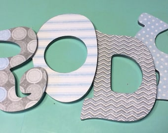 Custom Decorated Wooden Letters - Blue and Gray