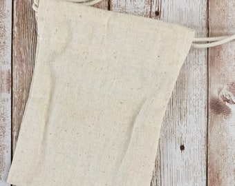 """Muslin Bag, 9x11,5cm, 4""""x5"""", Plain Cotton Drawstring Pouch, Great for Stamping"""