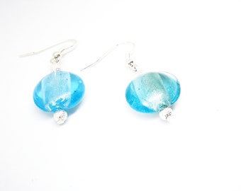 Earrings Aqua silver foil
