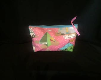 Vintage Trailer Glamping Cosmetic Bag