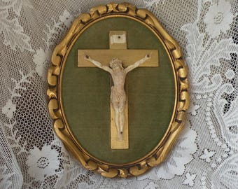 French vintage framed crucifix, vintage religious, Christian vintage, vintage catholic, French crucifix, religious artifacts, wall mounted
