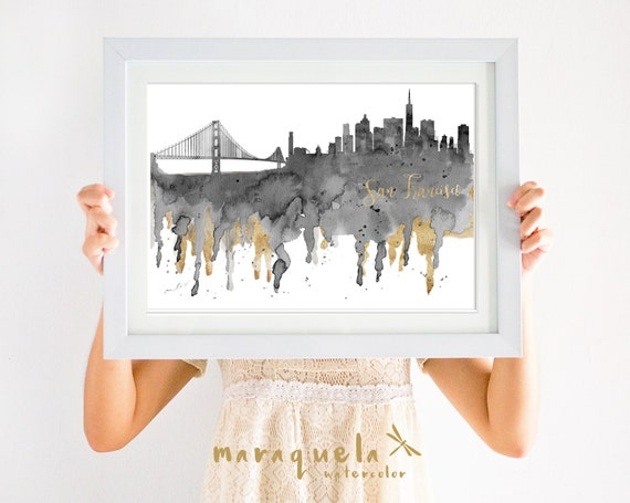 SAN FRANCISCO Skyline Gray and golden hues,watercolor,landscape SF city,California,usa,art print,poster painted, decor gift trip,america